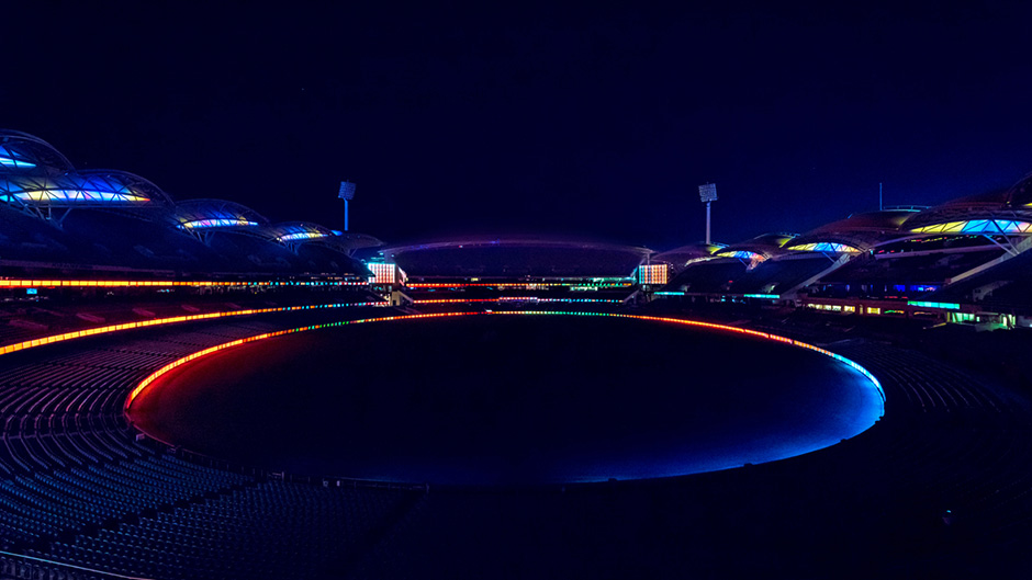 Adelaide Oval LED lighting night image