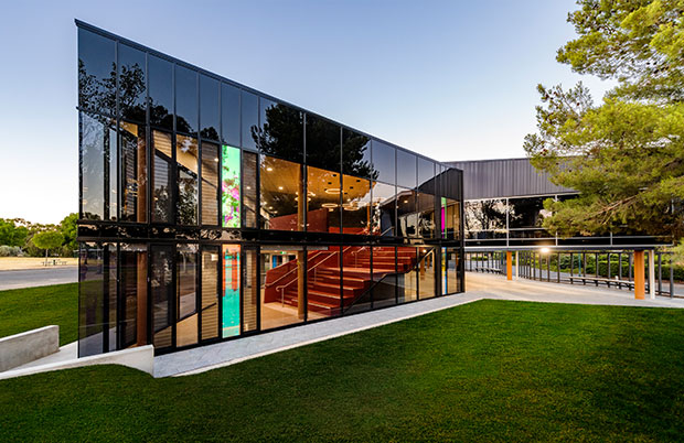 Dusk at faith lutheran college east wing glass facade