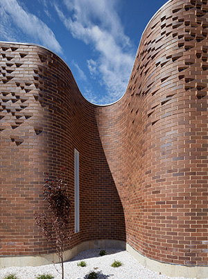 LHI Community Centre Branding and Brick Facade Details