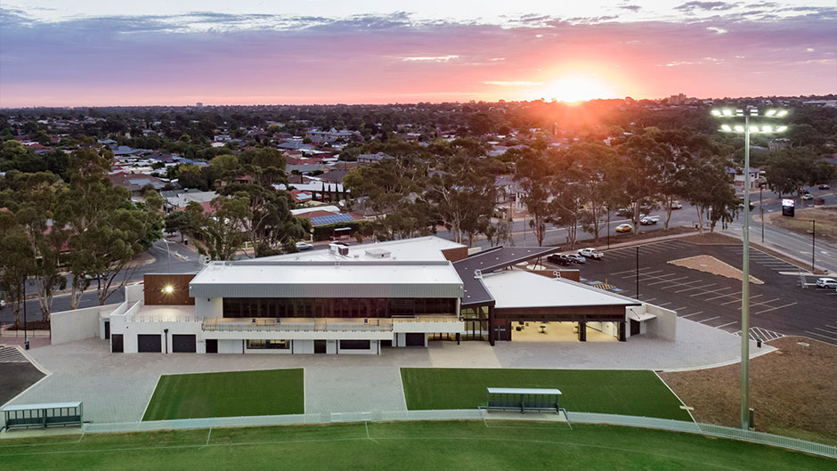 Aerial view at sunset Campbelltown Memorial Oval